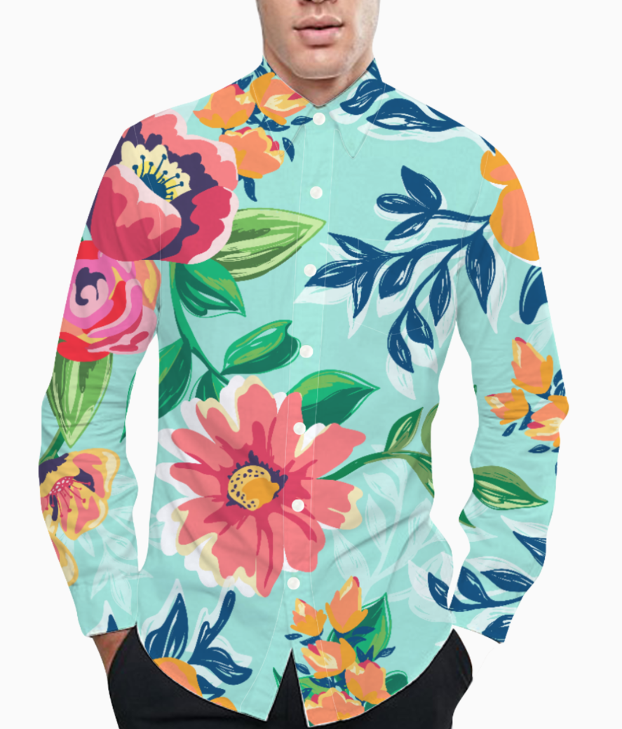 Floaral print basic shirt front