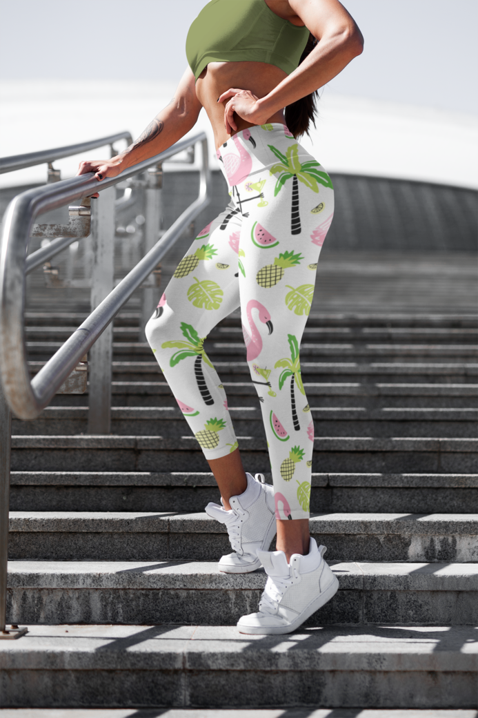 Cropped face mockup of a woman with leggings posing by some stairs 3658 el1