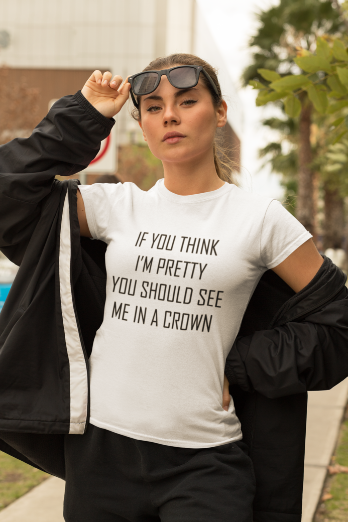 T shirt mockup of a bold woman wearing an athleisure outfit 32445