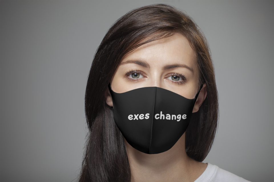 Mockup of a long haired woman wearing a customizable face mask 4701 el1