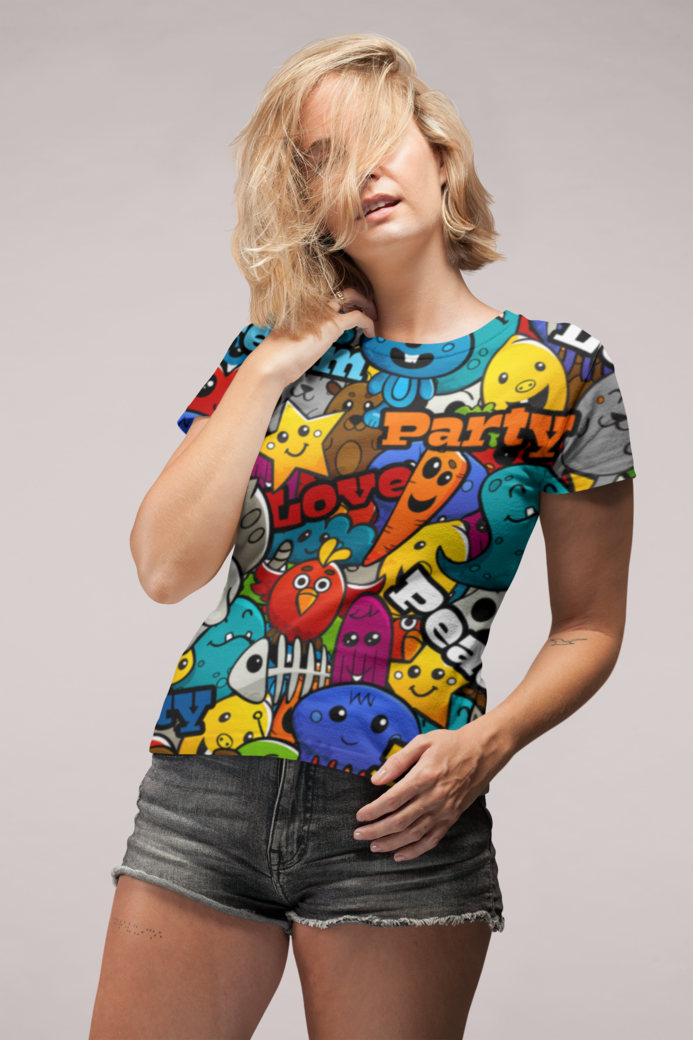Sublimated tee mockup of a woman with her hair all over her face 22331