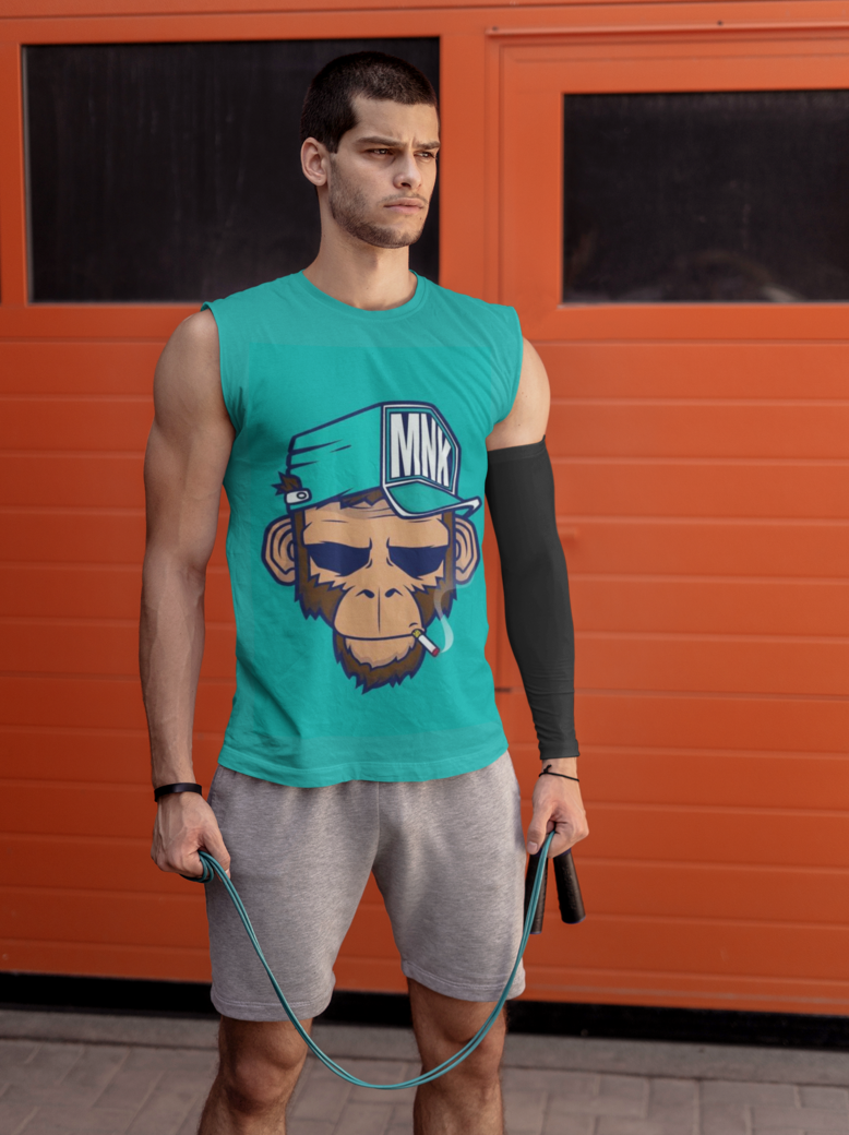 Tank top mockup of a man with a training sleeve 38040r el2