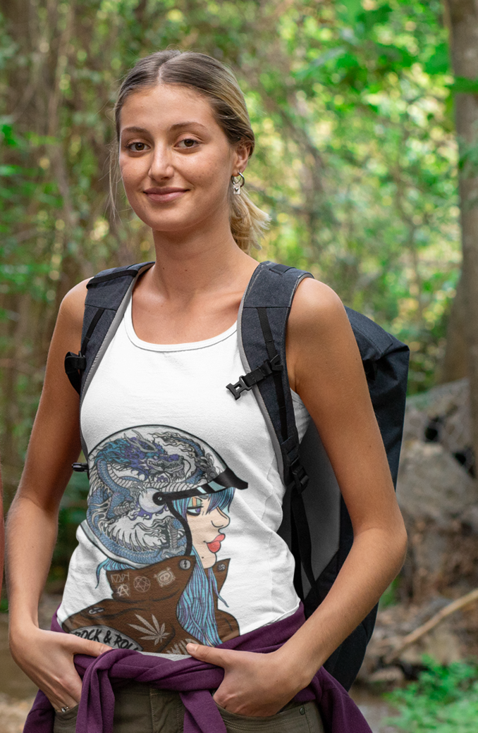 Tank top mockup of a couple of hikers in the wilderness 32232 %281%29